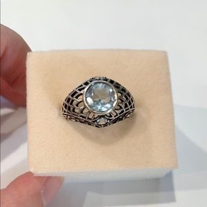 Jewelry - Antique Filigree Blue Topaz Silver Ring